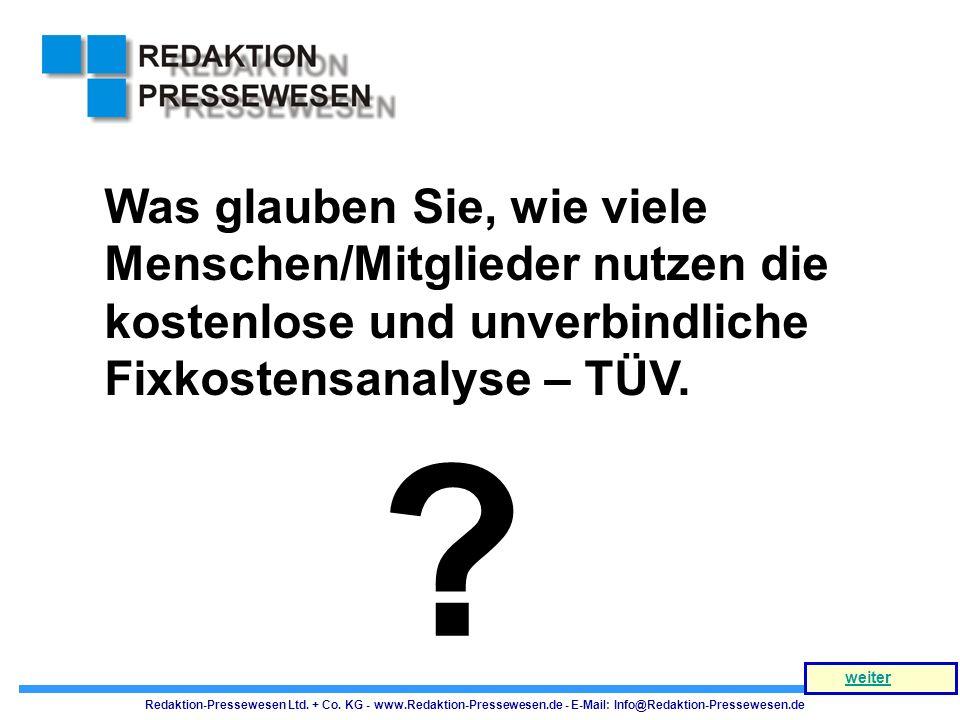 Was glauben Sie, wie viele Menschen/Mitglieder nutzen die kostenlose und unverbindliche Fixkostensanalyse – TÜV.