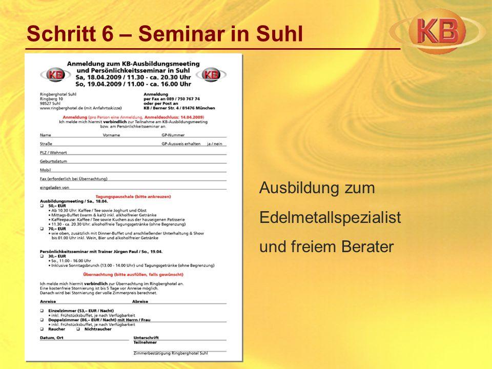 Schritt 6 – Seminar in Suhl