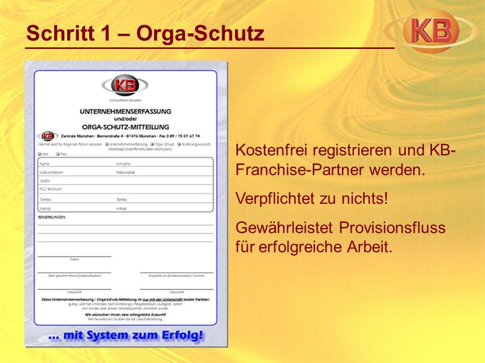 Schritt 1 – Orga-SchutzKostenfrei registrieren und KB-Franchise-Partner werden. Verpflichtet zu nichts!