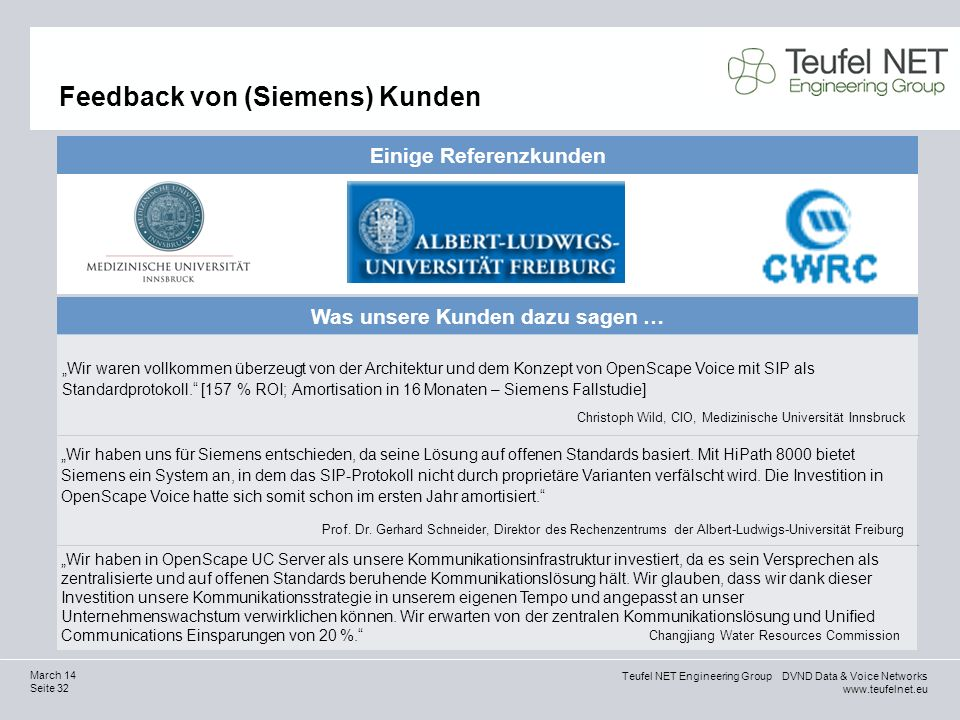 Feedback von (Siemens) Kunden