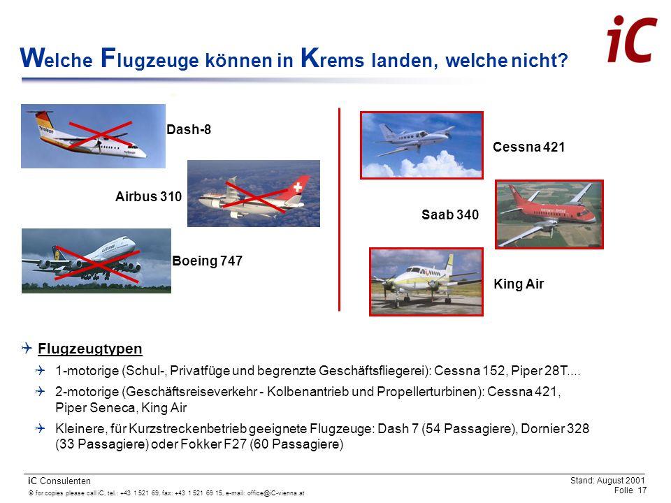 Welche Flugzeuge können in Krems landen, welche nicht