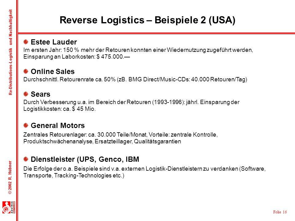 Reverse Logistics – Beispiele 2 (USA)