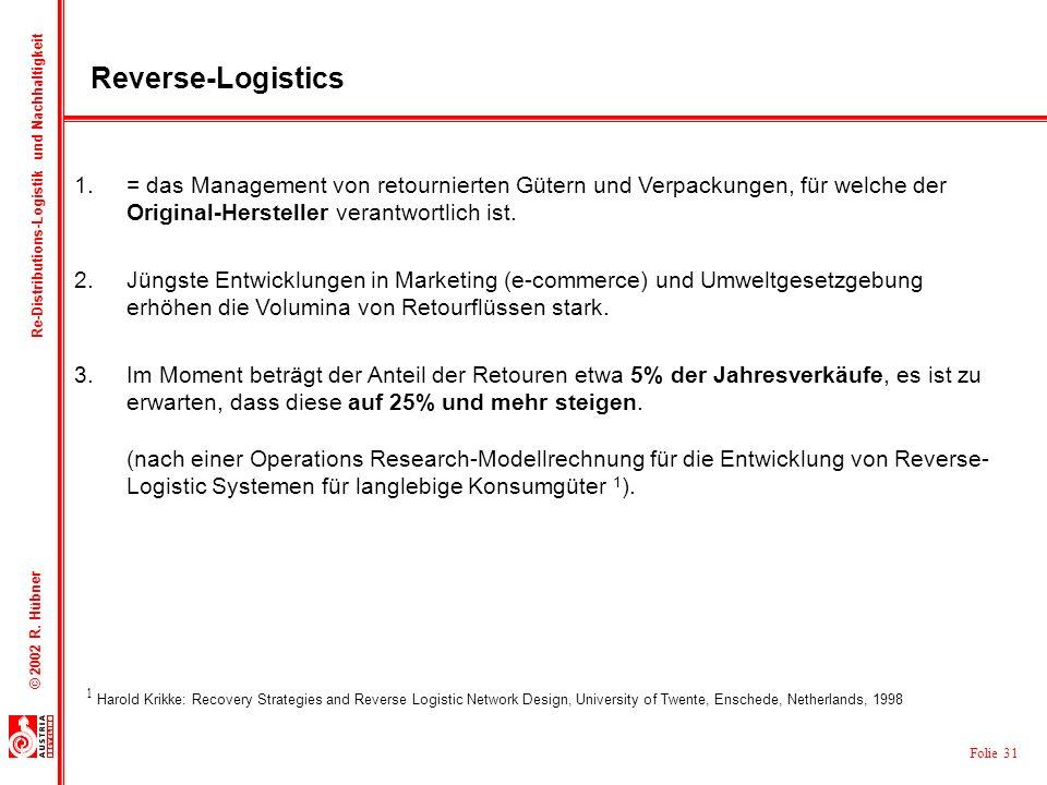 Reverse-Logistics= das Management von retournierten Gütern und Verpackungen, für welche der Original-Hersteller verantwortlich ist.