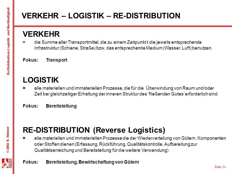 VERKEHR – LOGISTIK – RE-DISTRIBUTION