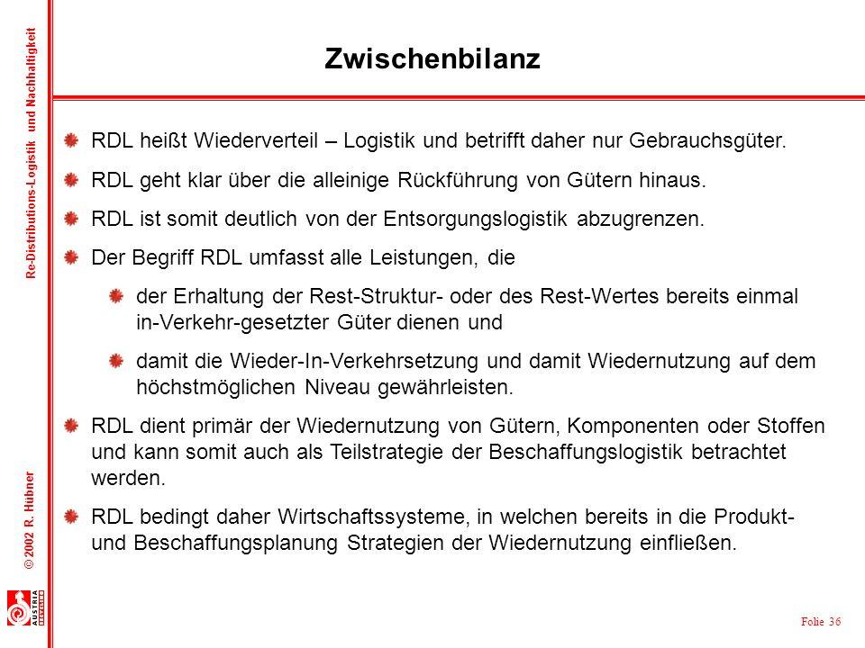 ZwischenbilanzRDL heißt Wiederverteil – Logistik und betrifft daher nur Gebrauchsgüter.
