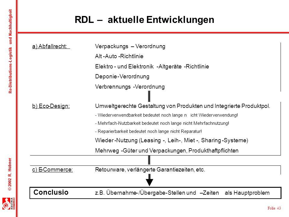 RDL – aktuelle Entwicklungen