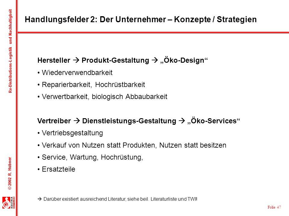 Handlungsfelder 2: Der Unternehmer – Konzepte / Strategien