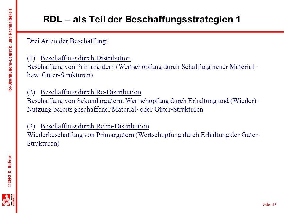 RDL – als Teil der Beschaffungsstrategien 1