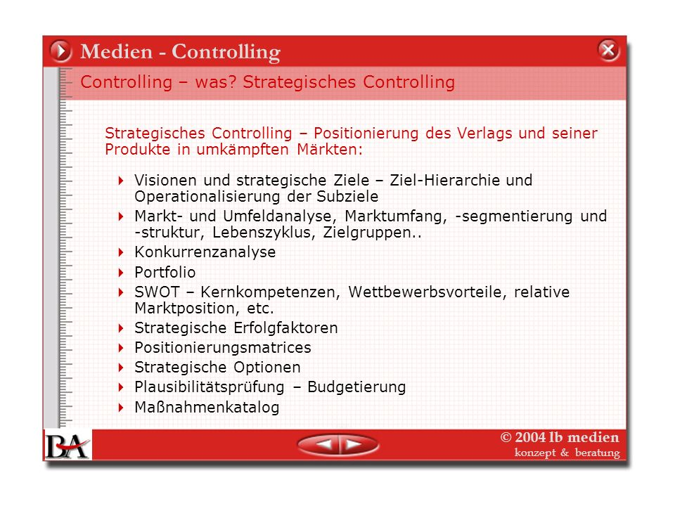 Medien - Controlling Controlling – was Strategisches Controlling