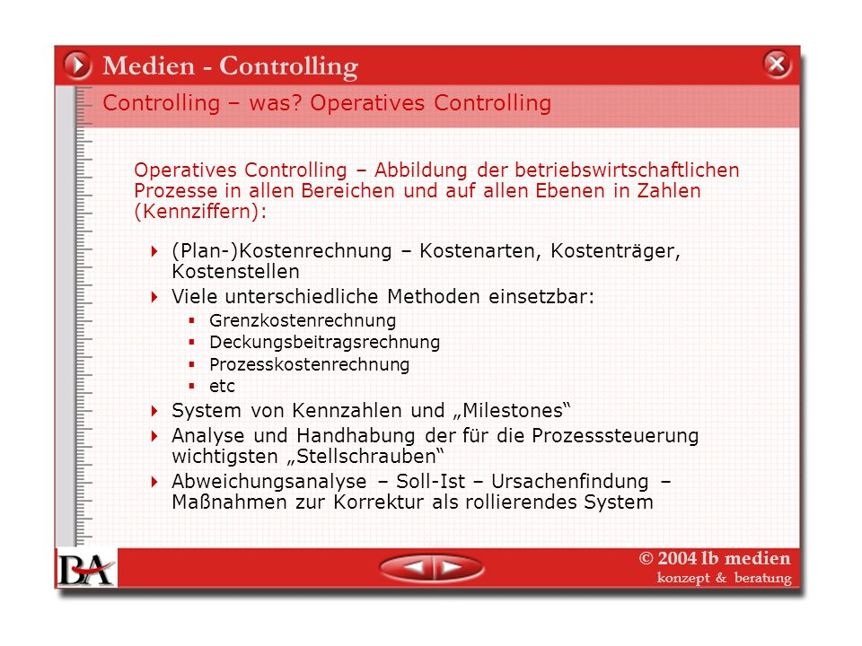 Medien - Controlling Controlling – was Operatives Controlling