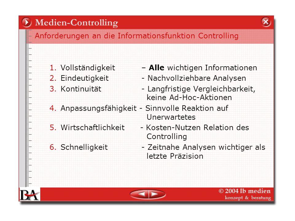 Medien-Controlling Anforderungen an die Informationsfunktion Controlling. Vollständigkeit – Alle wichtigen Informationen.