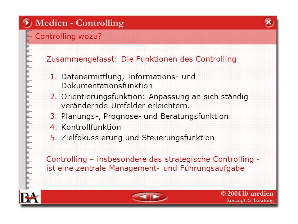 Medien - Controlling Controlling wozu