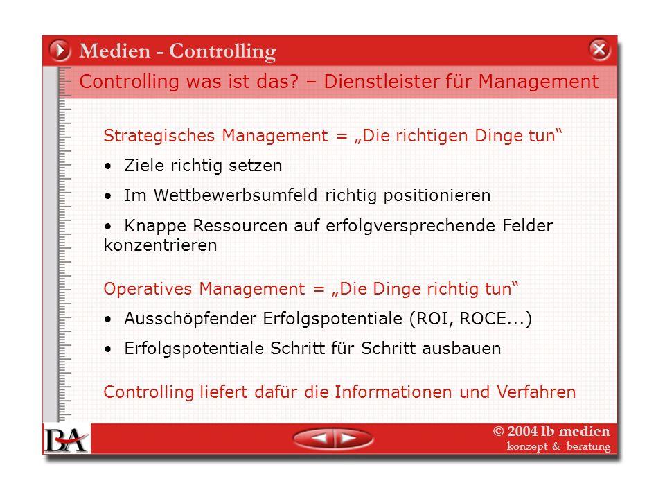 """Medien - Controlling Controlling was ist das – Dienstleister für Management. Strategisches Management = """"Die richtigen Dinge tun"""