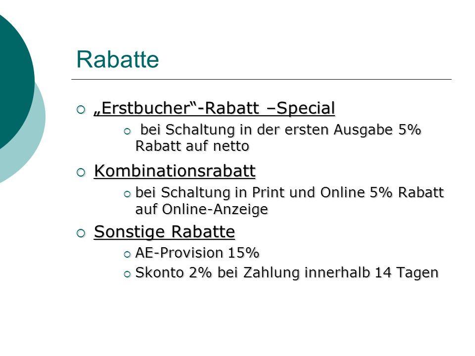 "Rabatte ""Erstbucher -Rabatt –Special Kombinationsrabatt"