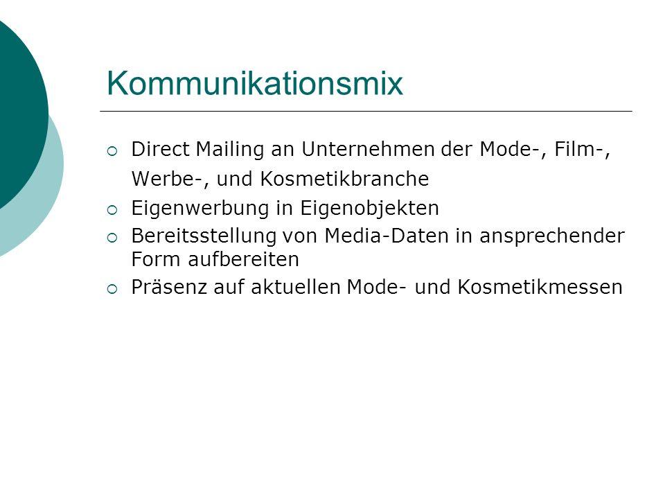 Kommunikationsmix Direct Mailing an Unternehmen der Mode-, Film-, Werbe-, und Kosmetikbranche. Eigenwerbung in Eigenobjekten.