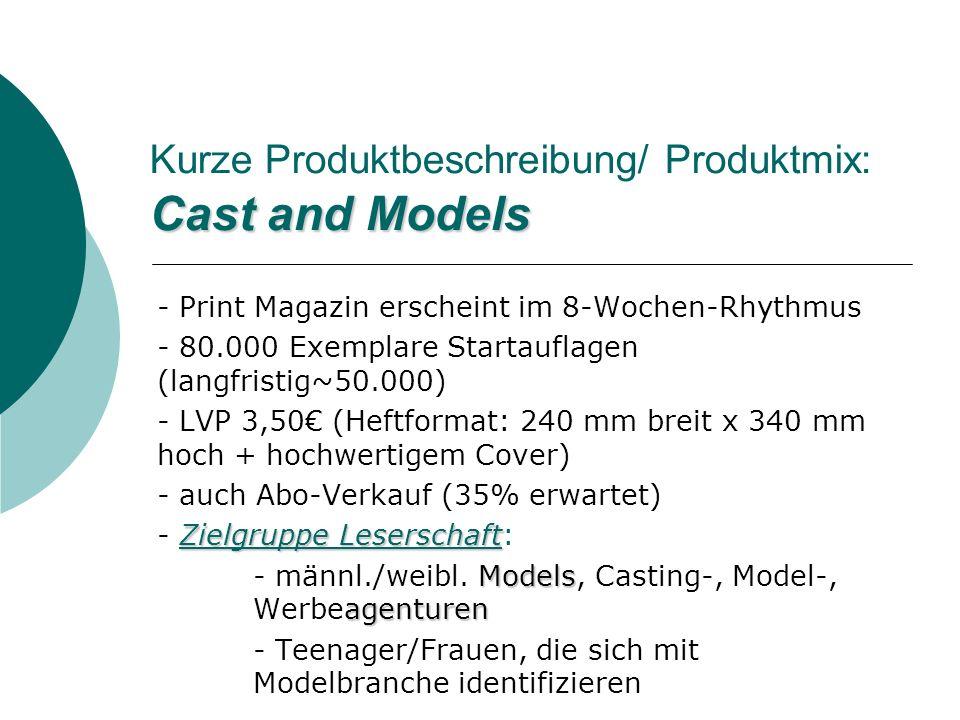 Kurze Produktbeschreibung/ Produktmix: Cast and Models