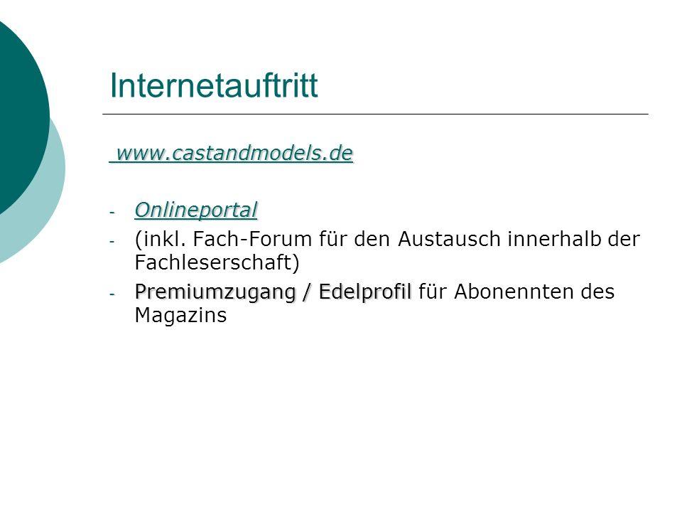 Internetauftritt www.castandmodels.de Onlineportal