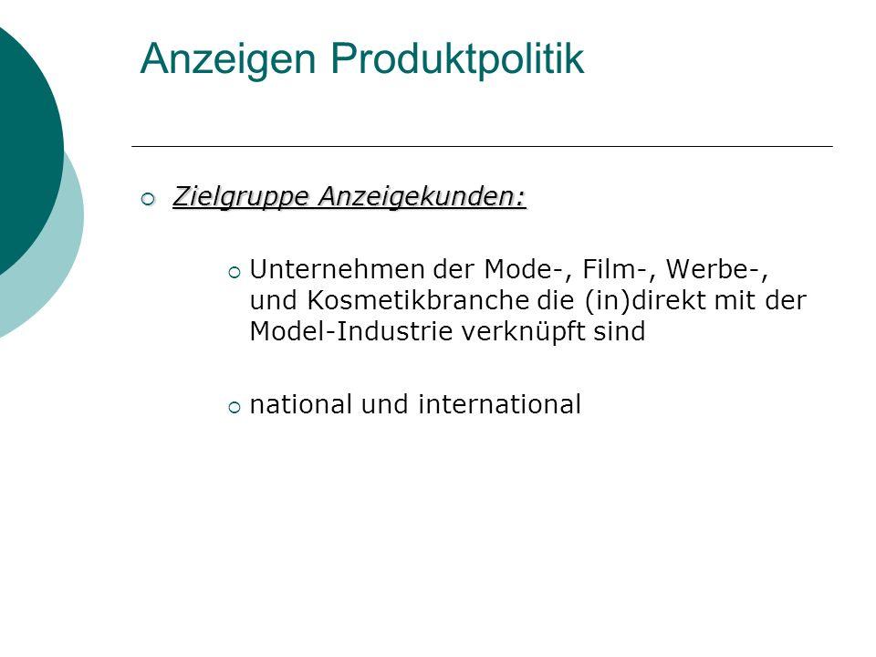 Anzeigen Produktpolitik