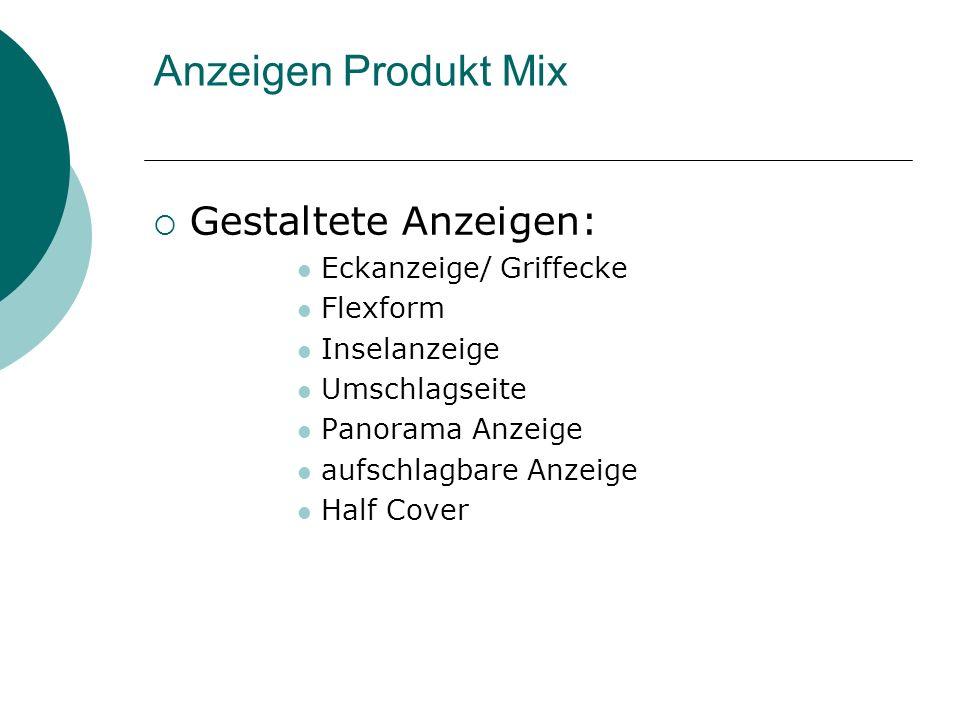 Anzeigen Produkt Mix Gestaltete Anzeigen: Eckanzeige/ Griffecke