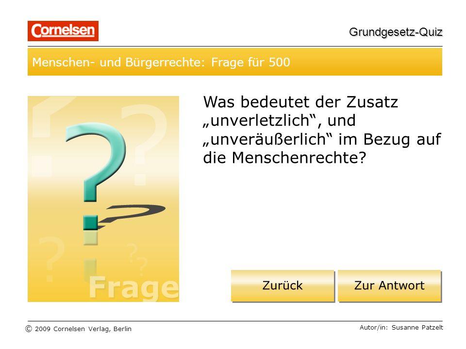 Grundgesetz-Quiz Menschen- und Bürgerrechte: Frage für 500.