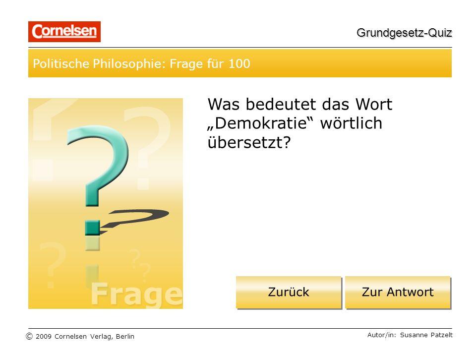 """Was bedeutet das Wort """"Demokratie wörtlich übersetzt"""