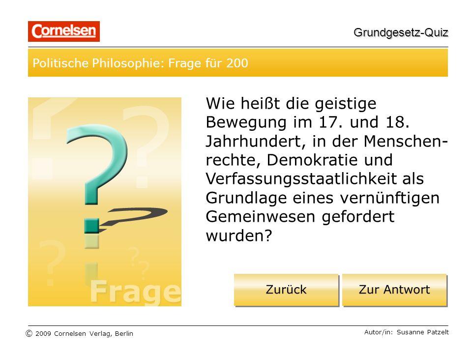 Grundgesetz-Quiz Politische Philosophie: Frage für 200.