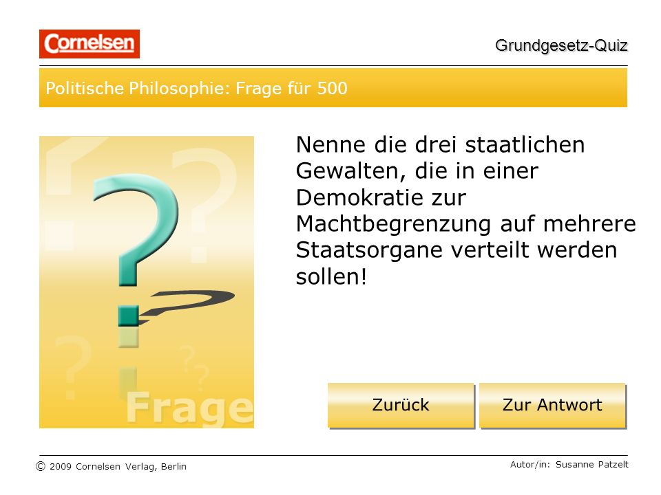 Grundgesetz-Quiz Politische Philosophie: Frage für 500.