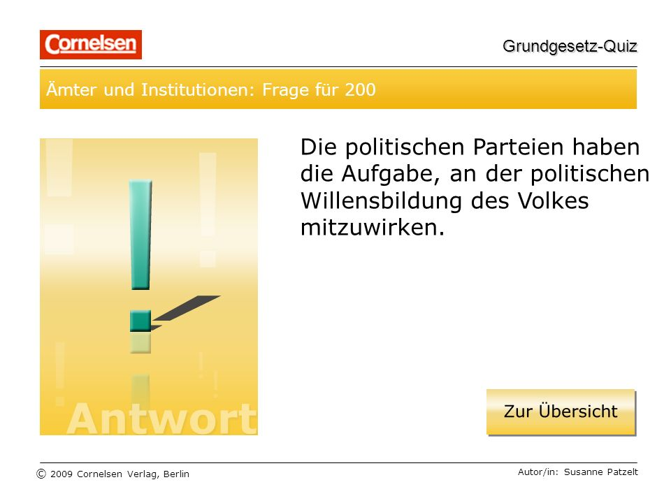 Grundgesetz-Quiz Ämter und Institutionen: Frage für 200.