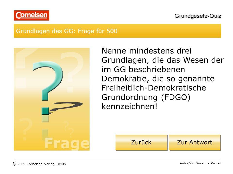 Grundgesetz-Quiz Grundlagen des GG: Frage für 500.