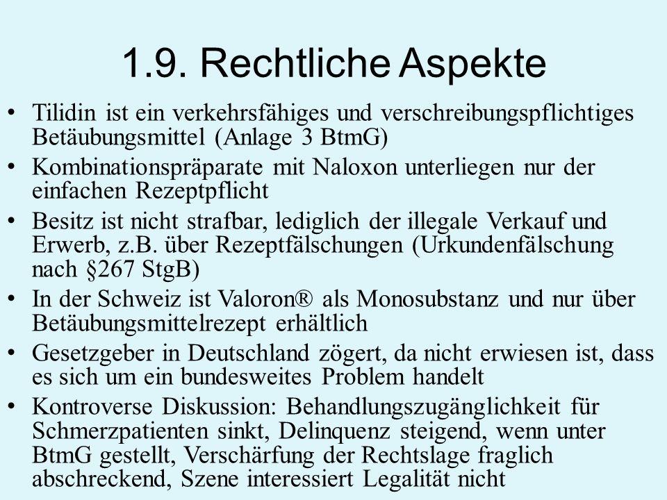 1.9. Rechtliche Aspekte Tilidin ist ein verkehrsfähiges und verschreibungspflichtiges Betäubungsmittel (Anlage 3 BtmG)