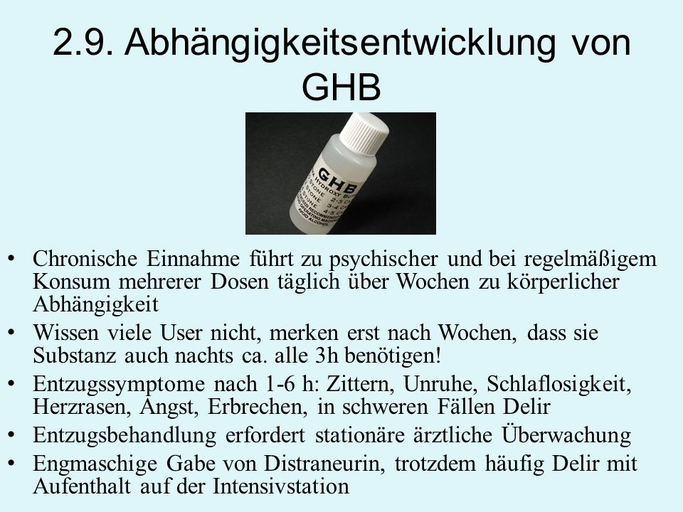 2.9. Abhängigkeitsentwicklung von GHB