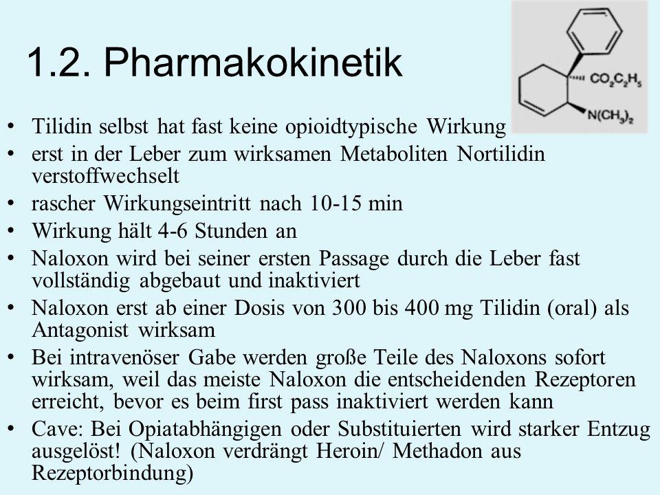 1.2. Pharmakokinetik Tilidin selbst hat fast keine opioidtypische Wirkung. erst in der Leber zum wirksamen Metaboliten Nortilidin verstoffwechselt.