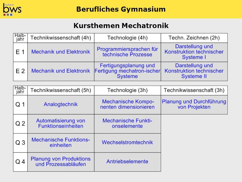 Berufliches Gymnasium Kursthemen Mechatronik