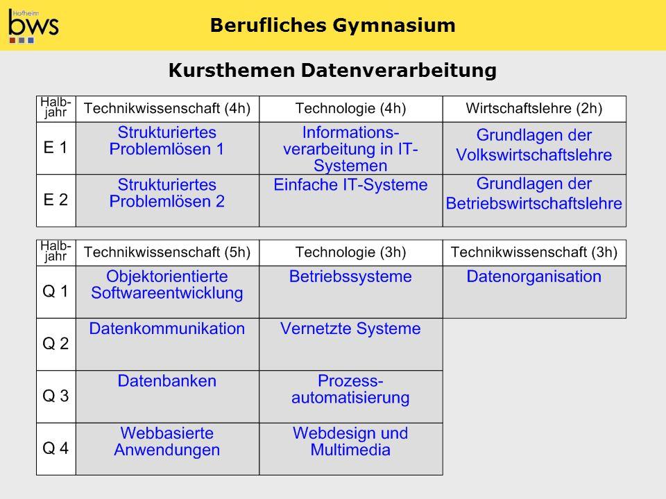 Berufliches Gymnasium Kursthemen Datenverarbeitung
