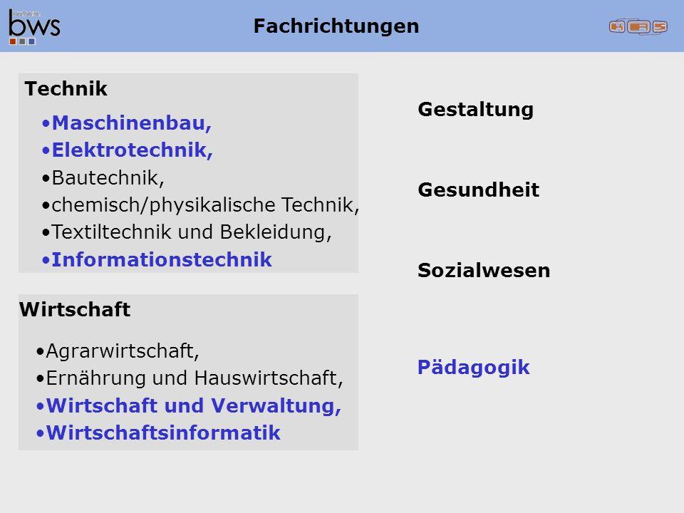 Fachrichtungen Technik. Gestaltung. Maschinenbau, Elektrotechnik, Bautechnik, chemisch/physikalische Technik,