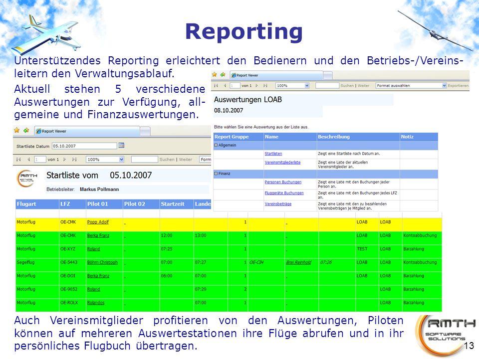 Reporting Unterstützendes Reporting erleichtert den Bedienern und den Betriebs-/Vereins-leitern den Verwaltungsablauf.