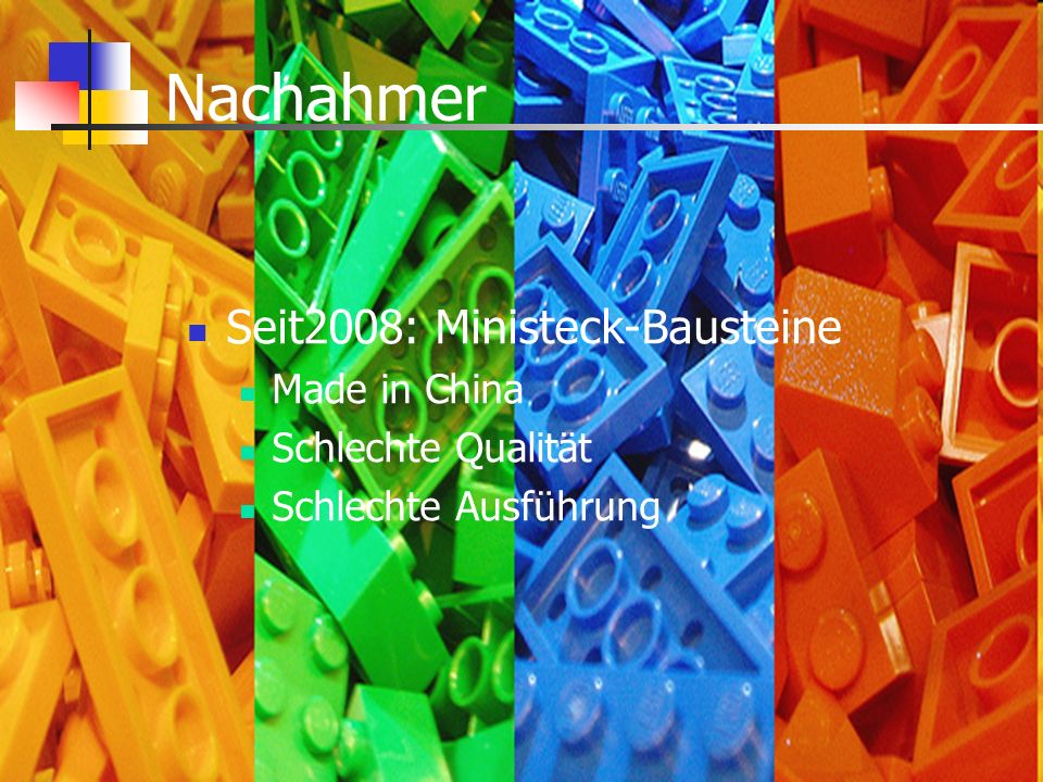 Nachahmer Seit2008: Ministeck-Bausteine Made in China