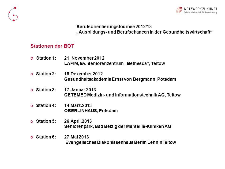 Stationen der BOT Berufsorientierungstournee 2012/13
