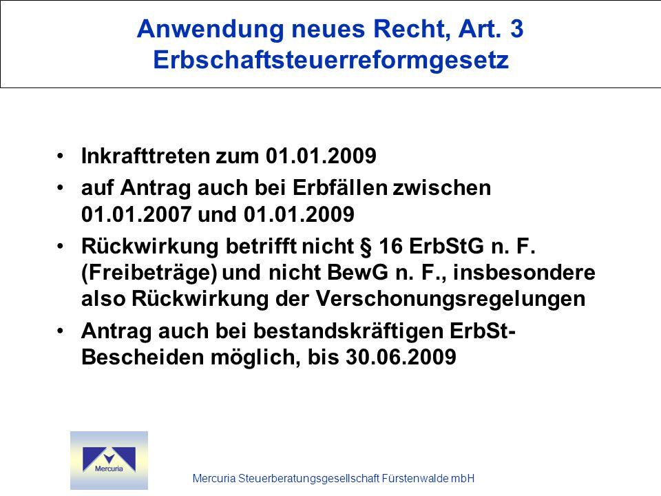 Anwendung neues Recht, Art. 3 Erbschaftsteuerreformgesetz