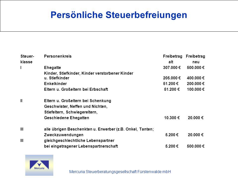 Persönliche Steuerbefreiungen