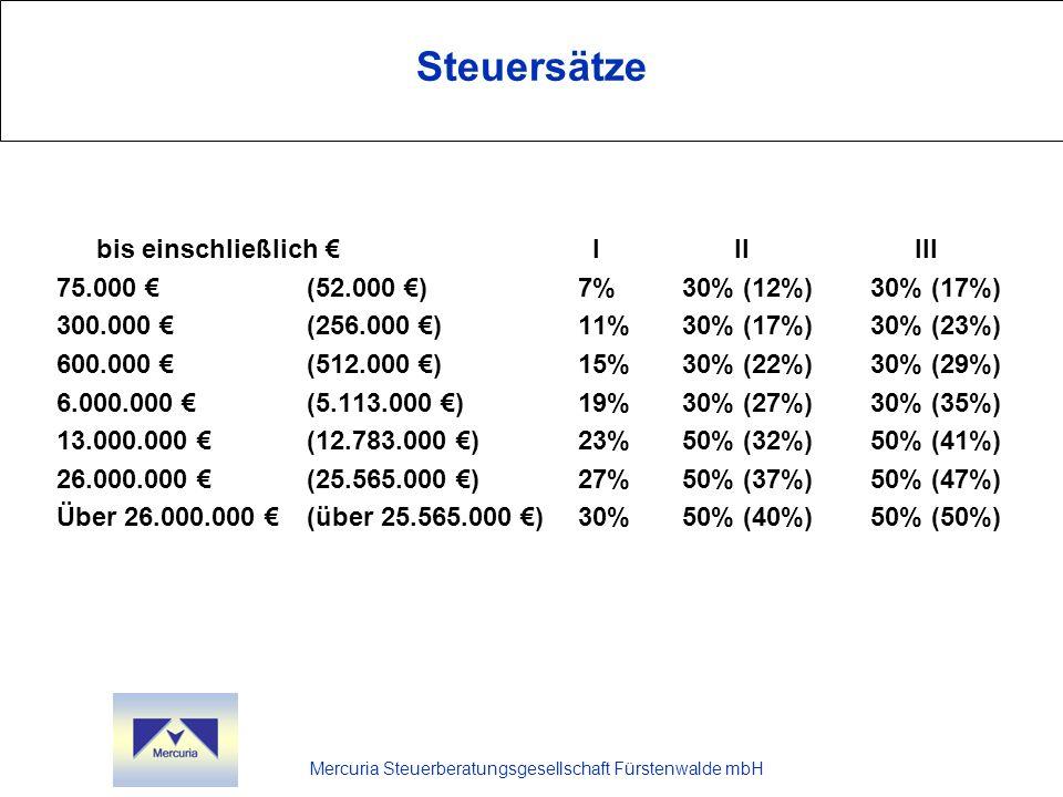 Steuersätze bis einschließlich € I II III