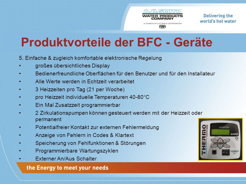 Produktvorteile der BFC - Geräte