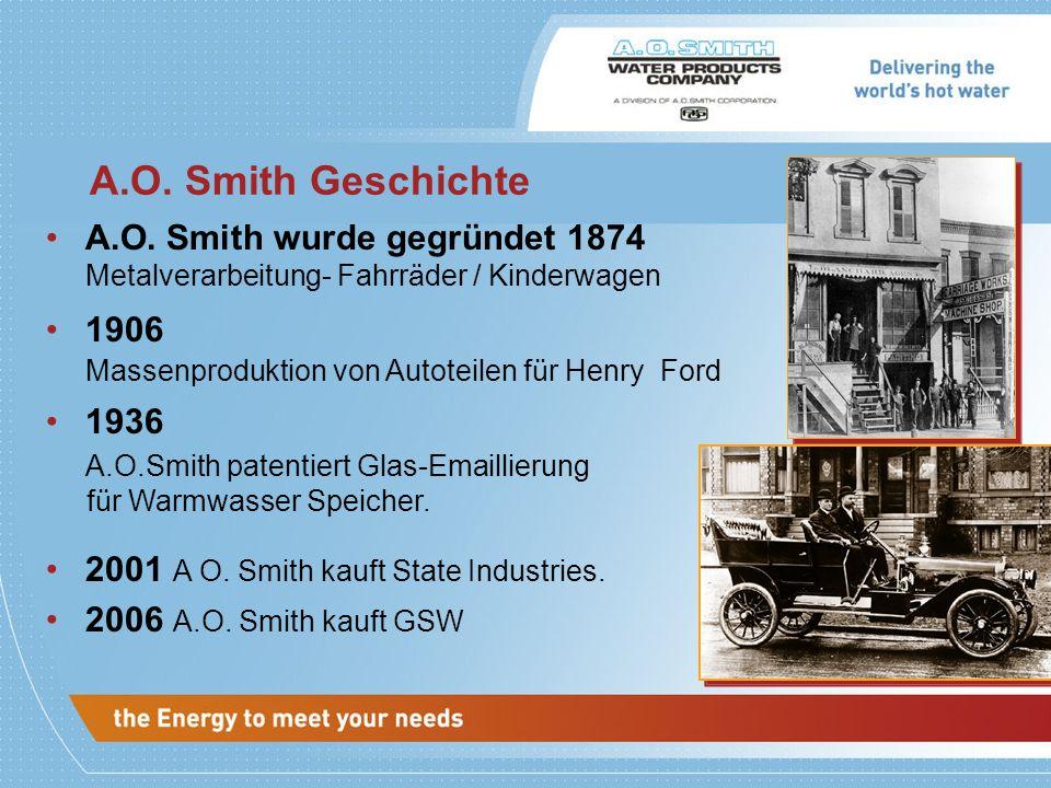 A.O. Smith Geschichte A.O. Smith wurde gegründet 1874 1906 1936