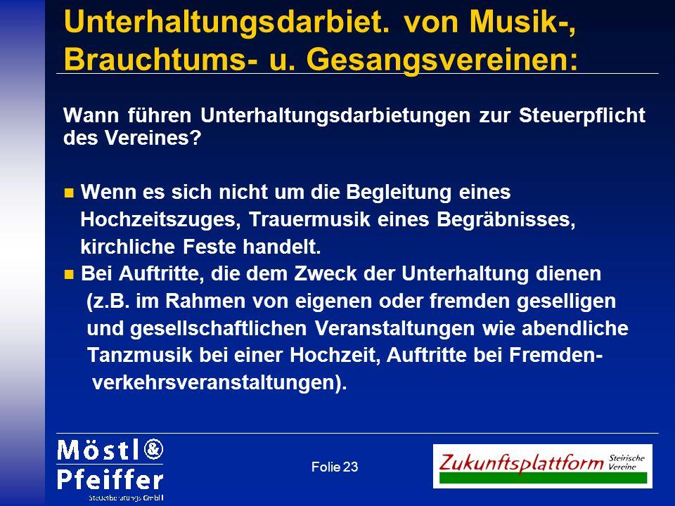 Unterhaltungsdarbiet. von Musik-, Brauchtums- u. Gesangsvereinen: