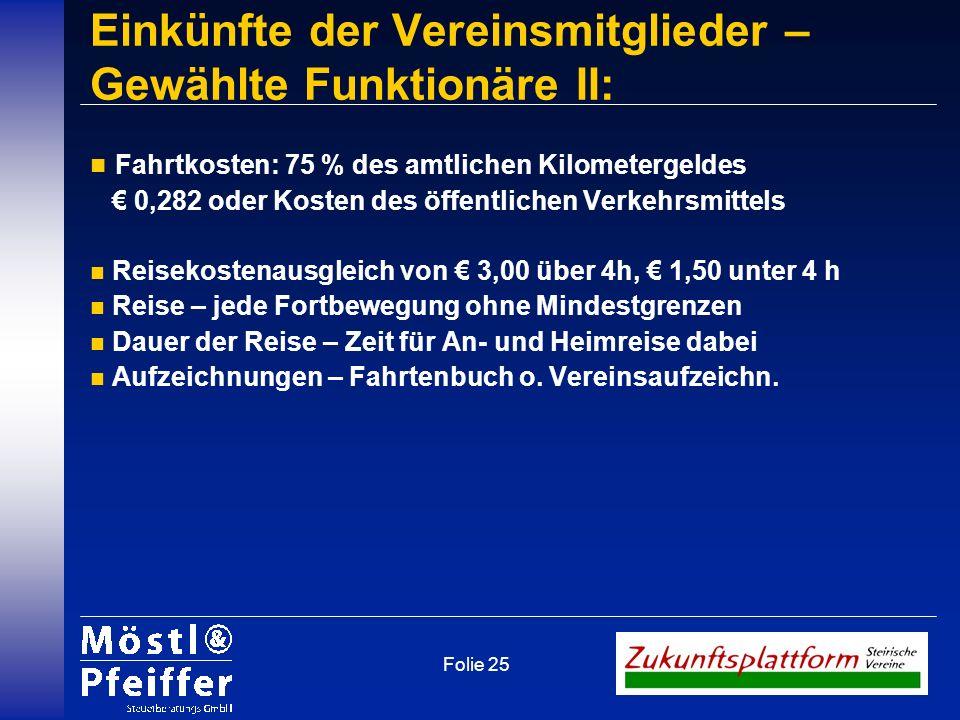Einkünfte der Vereinsmitglieder – Gewählte Funktionäre II: