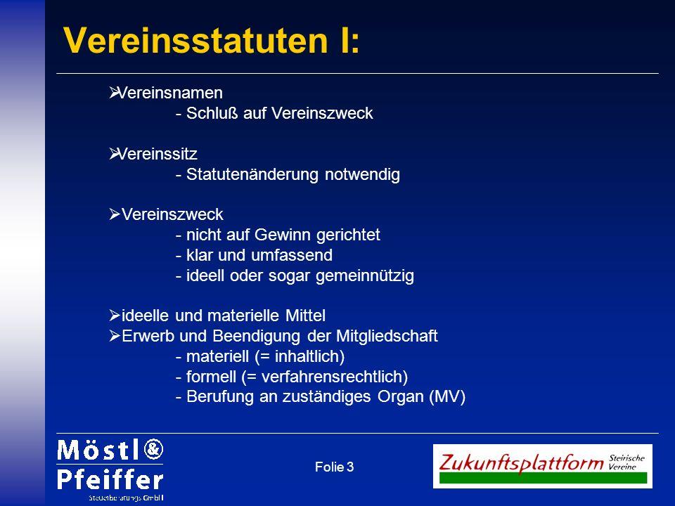 Vereinsstatuten I: Vereinsnamen - Schluß auf Vereinszweck Vereinssitz