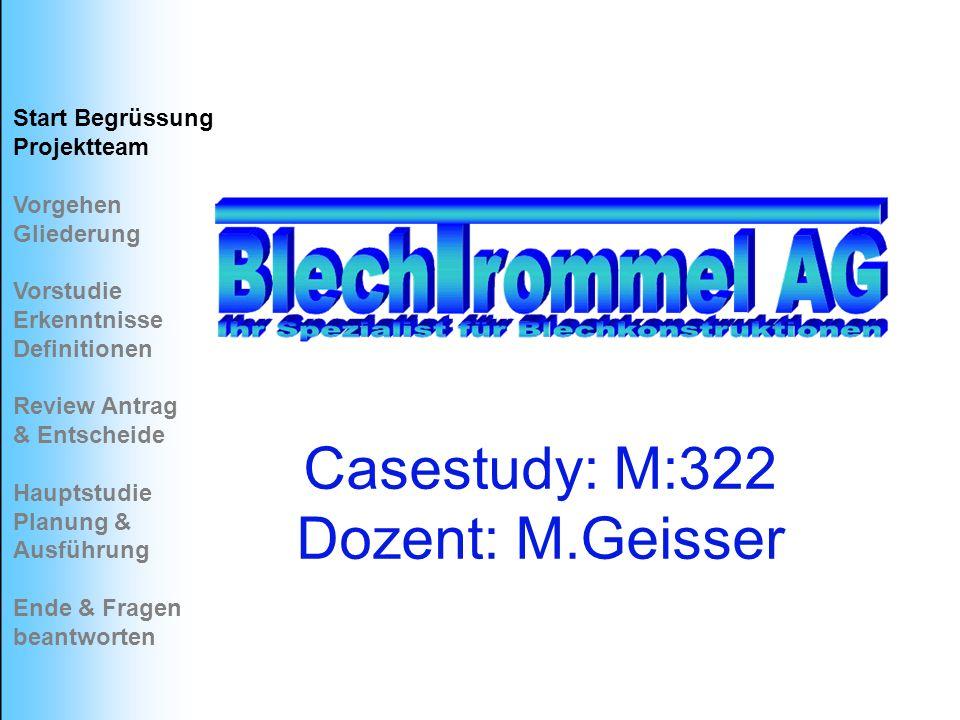 Casestudy: M:322 Dozent: M.Geisser Start Begrüssung Projektteam