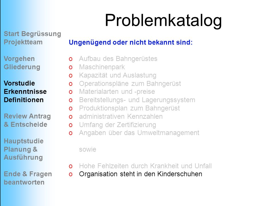 Problemkatalog Start Begrüssung Projektteam