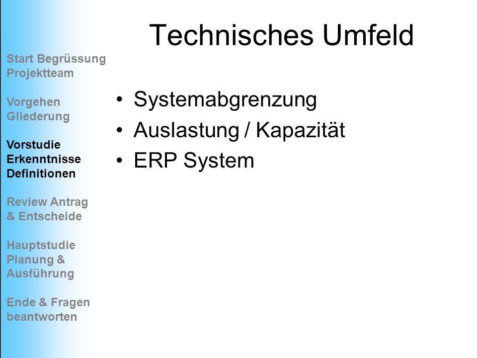 Technisches Umfeld Systemabgrenzung Auslastung / Kapazität ERP System