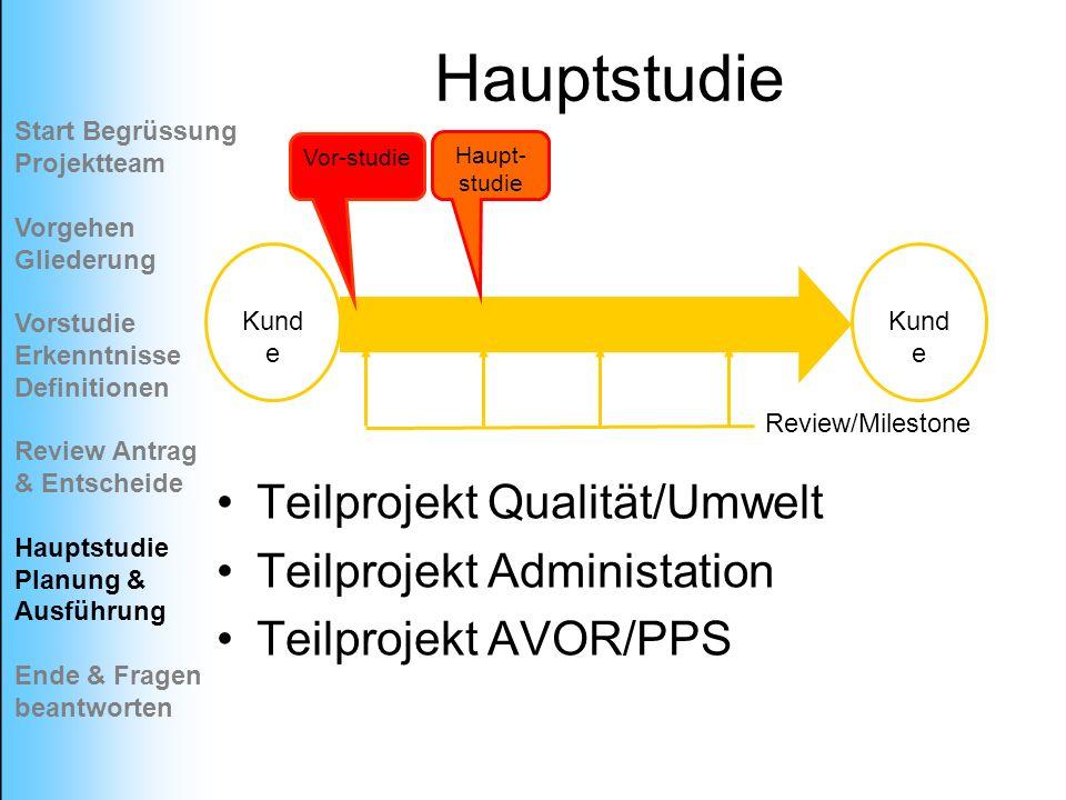 Hauptstudie Teilprojekt Qualität/Umwelt Teilprojekt Administation